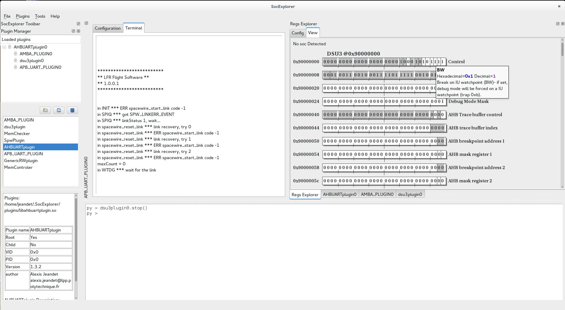 SocExplorer loading code on LFR